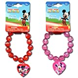 2pk Disney Mickey Clubhouse Minnie & Daisy Faceted Beaded Bracelet with Plastic Charm