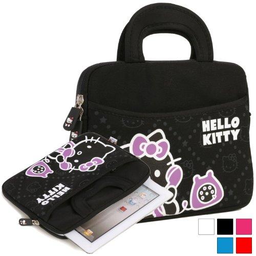 Hülle für Prestigio MultiPad 2 Prime Duo 8.0, Pro Duo 8.0 3G Tablet mit Hello Kitty Motiv mit Griffen in Schwarz (Neopren, Wasserdicht, Dual YKK Reißverschlüsse, Außentasche, mit weichem Plüsch Innenfutter)