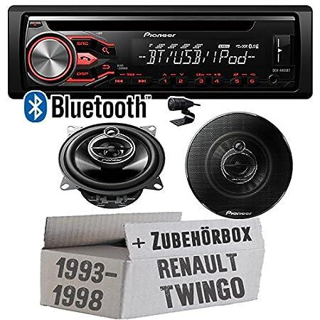 Renault Twingo bis 1998 - Pioneer Bluetooth DEH-4800BT & 10cm Lautsprecher TS-G1033i - Einbauset