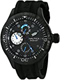 Nautica Men's N16681G BFD 100 Black Stainless Steel Sport Watch with Silicone Band