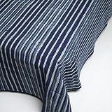 インド 木版染め(ブロックプリント) シングルベッドカバー インディゴ(藍染め) ストライプ