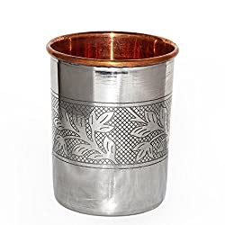 Qubic Inc SS Copper Glass for Ayurvedic Health Benefits Drinkware Tumbler
