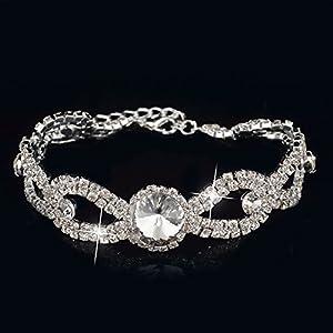GOMO Bracelets Bangles Silver Bracelets Crystal Bracelet Jewelry