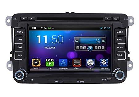 BOOMYOURS Socle pour VW Volkswagen BORA/GOLF/JETTA/PaSSAT/Scirocco// Tiguan Caddy/EOS/Touran/SKODA Octavia/Lapin dans le tableau de bord de voiture pour lecteur DVD stéréo de voiture Bluetooth avec écran tactile Android 4.2 Can-Bus Au