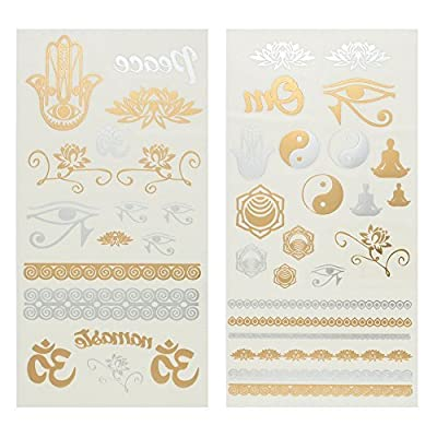Capelli New York 2 Sheet Yoga Set Temporary Tattoos Gold Combo ONE SIZE by N/A