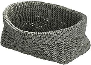 WENKO 2630100 Häkelkörbchen Malia Grau, Kunststoff - Polypropylen, 25 x 15 x 15 cm, Grau