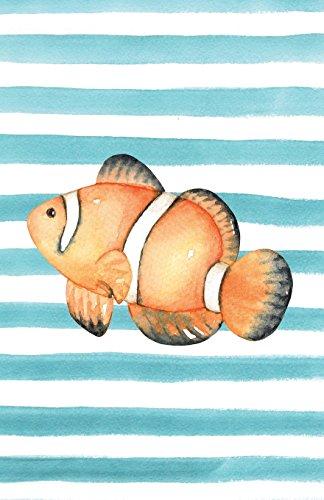 Orange Clownfish Watercolor Stripe Journal, Graph Paper 5x5 Quad Math Engineering Scientific Grid Notebook Diary (Coastal Beaches & Ocean Lovers Series) [Willow, Enchanted] (Tapa Blanda)