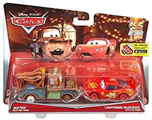 Disney/Pixar Cars Mater with No Tires & Lightning McQueen Diecast Character Car (2 Pack)