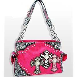Pink Western Style Triple Cross with Diamonds Purse