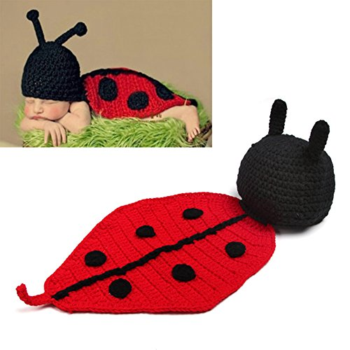 LifeJoy Baby Ladybug Costume Handmade Crochet Knit Clothes Photo Prop