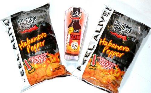 Blairs 3-er Grill Set: 1 x Ultra Death Hot Sauce 148 ml + 2 x Habanero Chips 142g