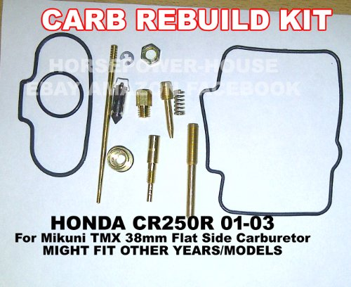 Carb Carburetor Rebuild Kit with Gasket O Ring Main Pilot Slow Jet Needle Idle Air Screw Spring and more for Mikuni TMX38 38mm Flat Side MX Carb fits Honda CR250 CR250R 01 02 03 and Possibly Other Shifter Kart Brands and Models with Similar Carb (Cr250 Carburetor compare prices)