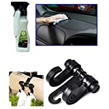 Combo - Auto Pearl - 200ml Car Polish Spray, Car Double Hook Headrest Luggage Holder