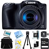 "Canon Powershot SX410 IS Black Digital Camera and 32GB Card Bundle - Includes 32GB Memory Card, Carrying Case, NB-11L Battery, Memory Card Wallet, SD Card Reader, 5"" Flexible Mini Tripod, Screen Protectors, Lens Cleaning Kit, and Micro Fiber Cloth"