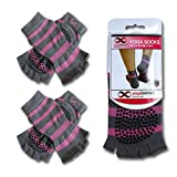 Yoga Toeless Socks (Purple with Grey Stripes), 2 Pairs Value Pack Set, For Any Type of Yoga Styles and Pilates, Size S/M, Premium Quality by YogaAddict