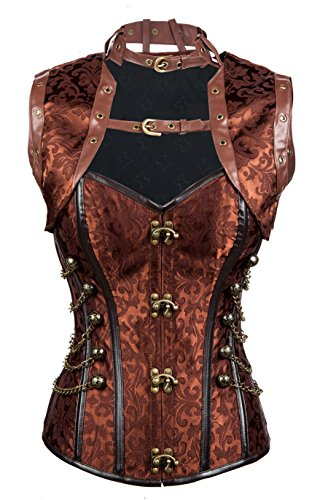 Charmian Women's Steampunk Vintage Spiral Steel Boned Brocade Bustier Corset Top 0