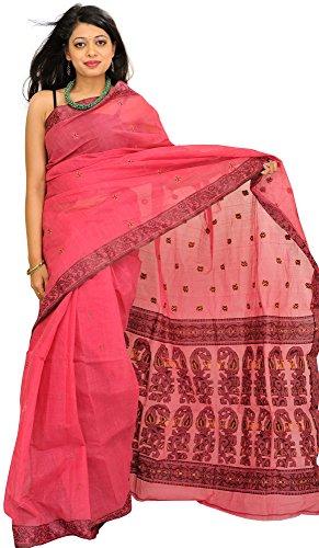 Exotic India Pink-Flambe Tangail Sari from Bengal with Woven Bootis and Paisleys (Pink Indian Sari Adult Costume)