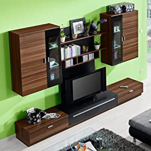 wohnwand lana in nussbaum schwarz k che. Black Bedroom Furniture Sets. Home Design Ideas