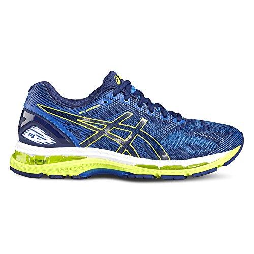 Asics Gel-Nimbus 19 Scarpe da corsa su strada allenamento, Uomo, Multicolore (Indigo Blue/Safety Yellow/Electric Blue), 43.5