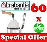 60 x 23-30L Litre Brabantia Smartfix Bin Liners Waste Bags Sacks Type G 5.6-6 UK Gal