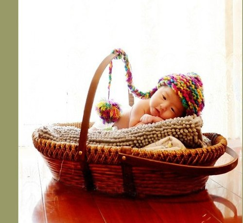 Newborn Baby Infant Photography Prop Handmade Woven Basket D-16