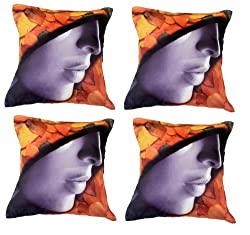 meSleep Painted Girl in Hat 4 Piece Cushion Cover Set - Multicolor