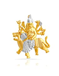 Mahi Gold And Rhodium Plated Maa Durga Pendant With CZ For Women PS1101499G