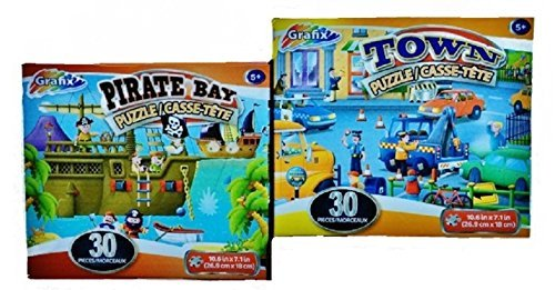 Pirate Bay and Town Jigsaw 30-piece Puzzles with Cord Carry Box 2-Pack - 1