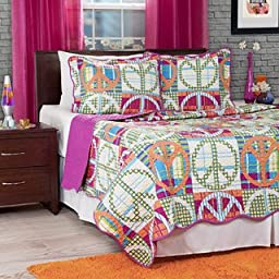 2 Piece Twin Sized Girls Peace Sign Quilt Comforter Set, Pink Melon Abstract Peace Logo Pattern, Orange, Green, Yellow, Baby Blue, Purple, Cute Pretty Beautiful