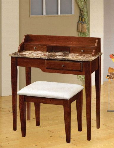 Cheap Console Table with Stool Faux Marble Top in Cherry Finish (VF_AZ00-47739×29626)