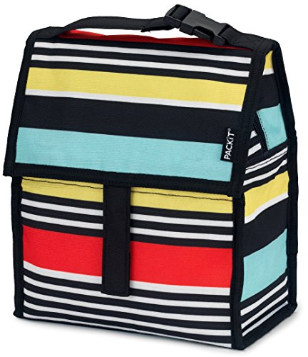 Read About PackIt Freezable Lunch Bag with Zip Closure, Surf Stripe