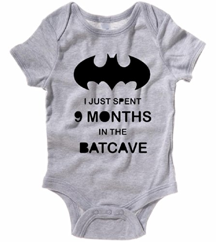 Batman Baby One Piece I Just Spent 9 Months In The Batcave Creeper Romper (6 Month, Heather Gray) front-899719