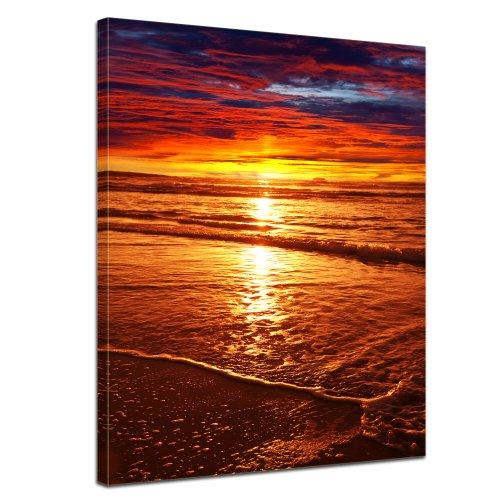 """Bilderdepot24 Keilrahmenbild """"Sonnenuntergang"""" XXL – 90 x 120 cm 1 teilig – fertig gerahmt, direkt vom Hersteller"""