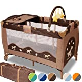infantastic� KRB02RockingPony Portable Baby Child bed travel cot with toys entryway 0-36 months light brown / dark brownby infantastic�