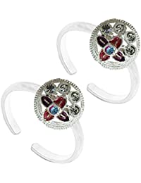 Antique Colourful German Silver Toe Ring Jewelry For Women