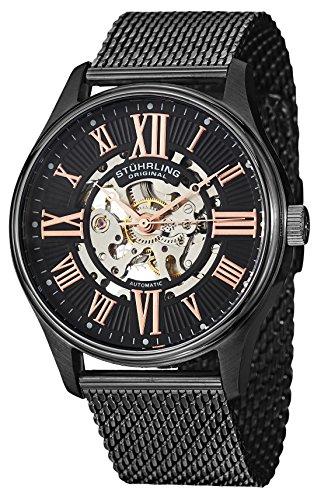 Stuhrling Original Elite Atrium Men'Automatik-Uhr mit schwarzem Zifferblatt Analog-Anzeige und Schwarz-Edelstahl-Armband 747 .03 m