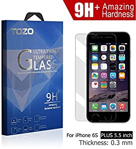 iPhone 6S Plus Screen Protector Glass , TOZO Luxury 0.3mm [9H+ Amazing Extreme Hardness] Tempered Glass [3D Touch Compatible] 2.5D Edge Super Clear [Perfect Fit] Screen [Lifetime Warranty] 0.3mm from TOZO