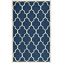 5 Feet By 8 Feet Rectangular Handmade Traditional Indoor Area Rug in Navy Blue Background and Geometric Pattern