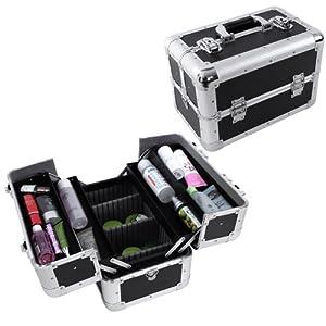 Songmics Mallette/coffrets/boîte à maquillage, bijoux et cosmétique beauty Case 36,5 x 22 x 25 cm noir JBC228
