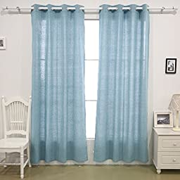 Deconovo Curtains for Bedroom Recycled Cotton Grommet Top Curtains 52 W x 63 L Blue 1 Pair