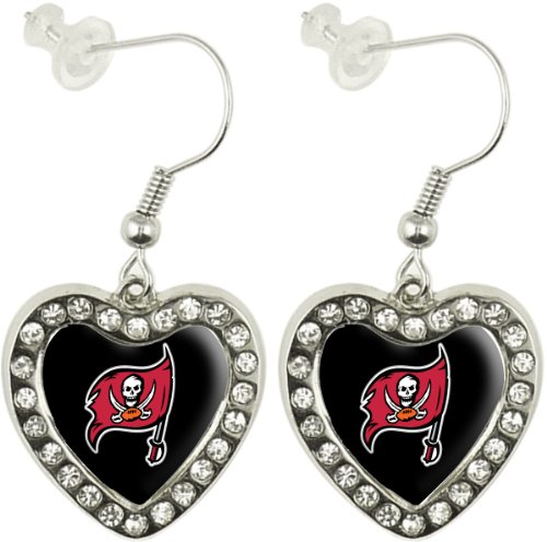 NFL Tampa Bay Buccaneers Crystal Heart Earrings with Team Logo - Old Logo