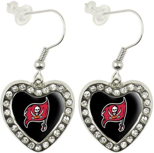 NFL Tampa Bay Buccaneers Crystal Heart Earrings with Team Logo - Old Logo