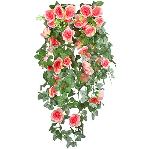 Silk Hanging Bush, Hogado Artificial Rose hanging Rattan Arrangement Faux Fabric Flower Garland Basket Plant Decorate Home Garden Living Room Party Wedding Supermarket Champagne (Funeral Flowers With Basket Stand compare prices)