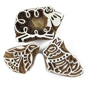 Lot de 3 pièces à la main sculpté indien Impression Textile bloc en bois Stamp Bloquer Imprimer