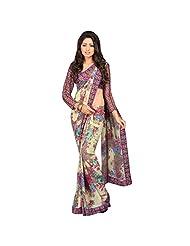 Elegant Floral Printed Chiffon Saree