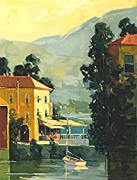 30W x 40H Lake Garda Cafe by Ted Goerschner - Stretched Canvas w/ BRUSHSTROKES