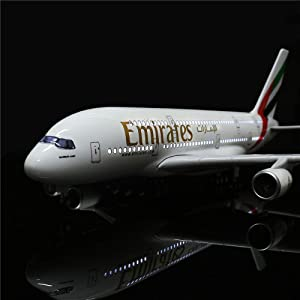 HANGHANG 18 Inch(46cm) LED Light 1:160 Model Airplane United Arab Emirates Airbus380 with Landing Gear Aircraft for Gift or Decoration (Color: United Arab Emirates 380)