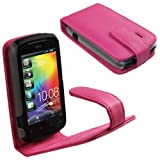IGadgitz Pink Leather Case Cover Holder for HTC Explorer A310e Android Smartphone Mobile Phone + Screen Protector