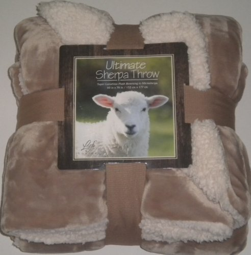 "Ultimate Sherpa Throw Blanket Light Brown Reversible Cream 60""X70"" New"