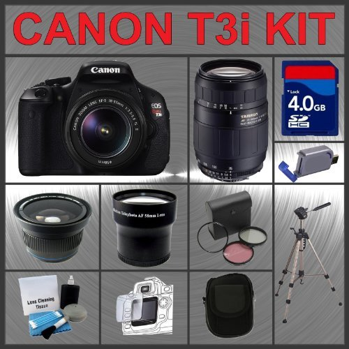 Canon EOS Rebel T3i 18MP Digital Camera with EF-S 18-55mm IS II Lens & Tamron AF 75-300mm f/4.0-5.6 LD for Canon Digital SLR Cameras + 4GB Memory Card + 3 Piece Lens Filter Kit + 2.0 USB SD Memory Card Reader + Wide Angle Lens with Macro Extension + Telep
